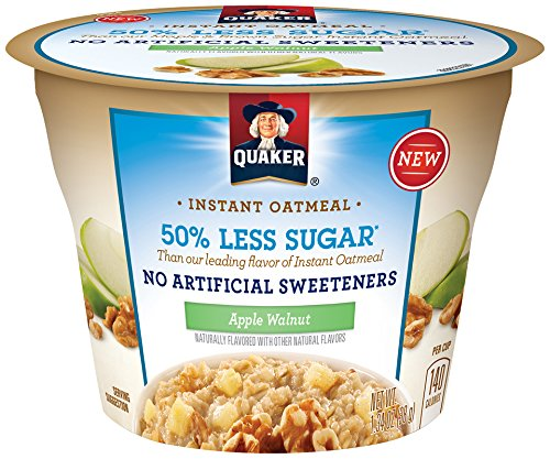Quaker Instant Oatmeal Express Cups, 50% Less Sugar, Apple Walnut, Breakfast Cereal, Individual Cups (Pack of 12)