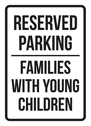 Reserved Parking Families With Young Children Business Safety Traffic Signs Black - 7.5x10.5 - Metal by iCandy Products Inc