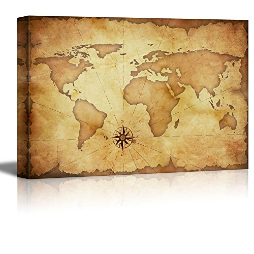 Abstract Old Grunge World Map Wall Decor ation