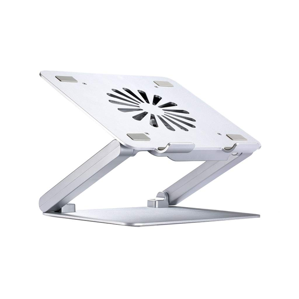 Office Aluminum Height Adjustable with Fan USB Interface Cooling Pad Foldable Increased Laptop Bracket (Size : 4 USB Ports)