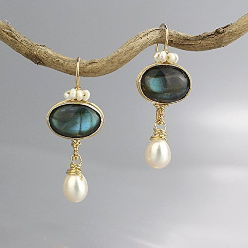 Genuine Labradorite and Pearl Gemstone Dangle Crown Earrings in Gold Filled, Unique Wedding Earrings by Yifat Bareket
