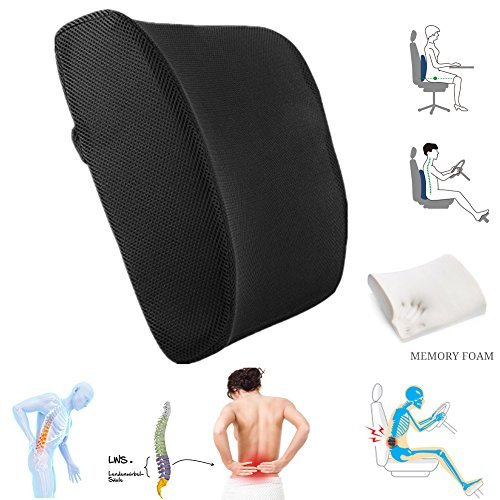 100% High Density Memory Foam Back Cushion,Arc Design of Human Body Mechanics Permanent Comprehensive Protect your Back, Black Classic Lumbar Support Pillow For Car or Office Chair