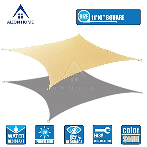 Alion Home 12×12 HDPE Sun Shade Sail -Sand 11 ft 10 Square