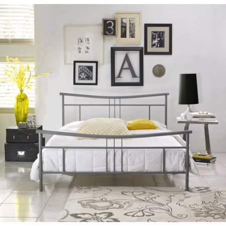 Nickel Finish Metal Headboard (Queen Size Metal Platform Bed Frame with Bonus Base Wooden Slat System, New Contemporary Style, Smoothed Swoop Design, Stylish Matte, Nickel Finish, Excellent Night's Sleep, Mattress, Sleeper)