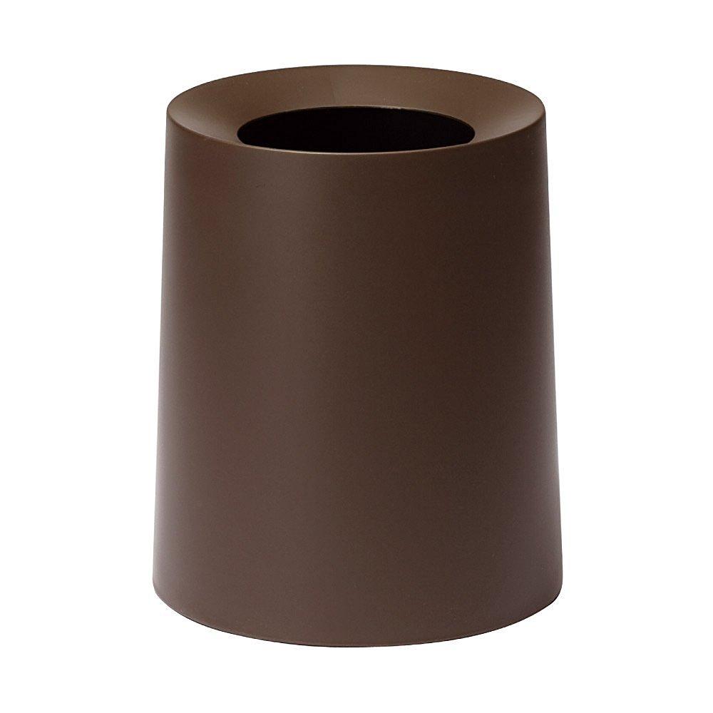 Ideaco TUBELOR Homme Designer Round Trash Can, Conceals any Plastic Bag 3.0 Gal / 11.4L, WENGE BROWN