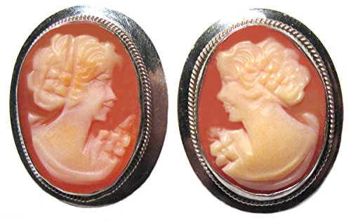 Carved Shell Cameo Earrings - Earrings Post Back Master-Carved Carnelian Conch Shell Cameo Italian Original