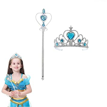 Girls Wand and Tiara Set Fancy Dress Dressing Up Princess Tiara Heart Headband