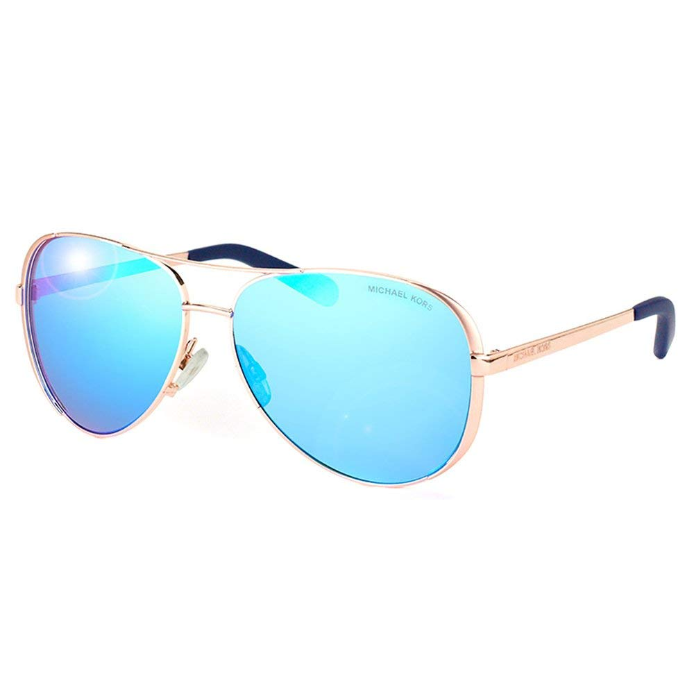 425237e0bf Amazon.com  Michael Kors MK5004 100325 Rose Gold Tone   Blue Mirror Aviator  59mm  Clothing