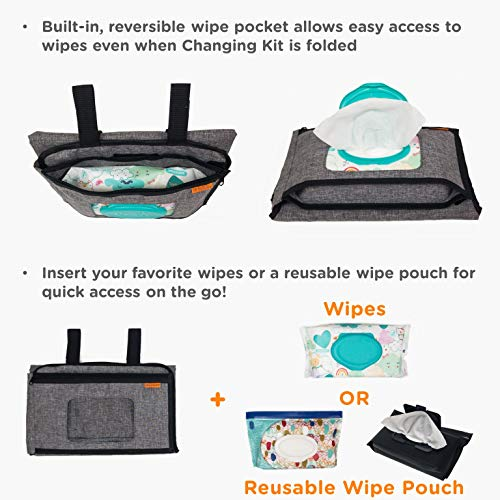 liuliuby Smart Changing Kit - Portable Diaper Changing Pad with Front Wipe Pocket - Extra Large Mat for Baby and Toddler by liuliuby (Image #3)