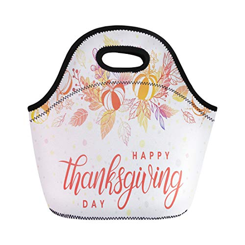 Semtomn Lunch Tote Bag Thanksgiving Lettering Pumpkins Leaves and Confetti in Fall Colors Reusable Neoprene Insulated Thermal Outdoor Picnic Lunchbox for Men Women