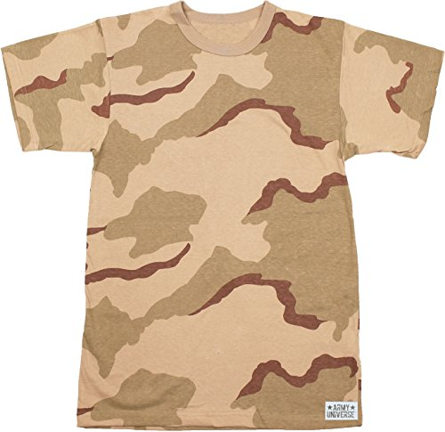 Tri Color Desert Camouflage T-shirt - Army Universe Tri-Color Desert Camouflage Short Sleeve T-Shirt with Pin - Size Large (41