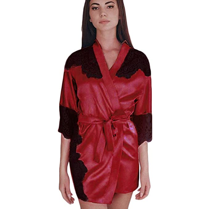 3968ff2a3e Women s Silky Stain Kimono Robe Noghtgown Sexy Lace Patchwork Lingerie  Bathrobe Sleepsuit Sleepwear Pajama Plus Size