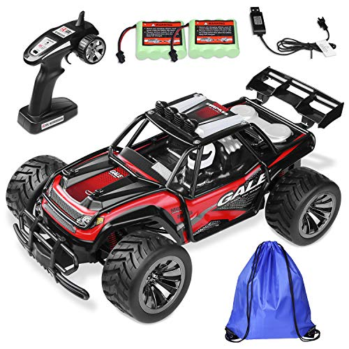 Remote Control Car RC Buggy - 2 WD 2.4Ghz Off-Road Racing Truck 1:16 RC Car with 2 Rechargeable Battery &Storage Bag(Red) ()