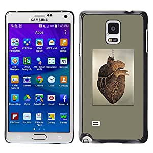 A-type Colorful Printed Hard Protective Back Case Cover Shell Skin for Samsung Galaxy Note 4 IV / SM-N910F / SM-N910K / SM-N910C / SM-N910W8 / SM-N910U / SM-N910G ( Heart Anatomy Human Drawing Art Painting )