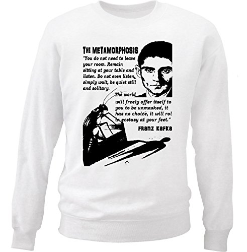 Teesquare1st Men's FRANZ KAFKA THE METHAMORPHOSIS 1 White Sweatshirt Size XXLarge