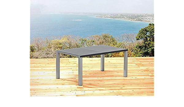 sun garden jardín Mesa 160 x 100 cm Mesa Aluminio Plata y ...