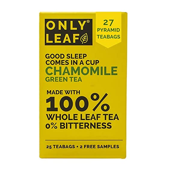 ONLYLEAF Chamomile Green Tea For Stress Relief & Good Sleep, Made with 100% Whole Leaf & Natural Chamomile Flowers, 27
