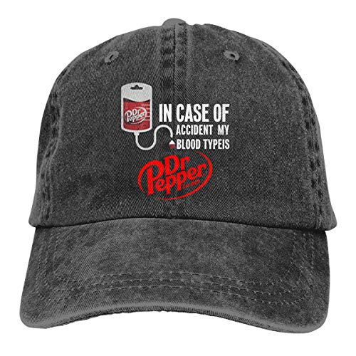 (Jeans Hat in Case of Accient, My Blood Type is Dr.Pepper Baseball Cap Sports Cap Adult Trucker Hat Mesh Cap Black)