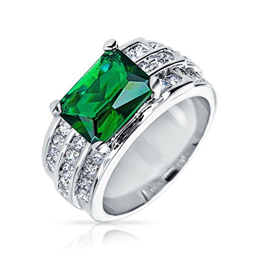 (Bling Jewelry 5.0 ct Emerald Cut Four Prong Green Simulated Emerald CZ Ring Rhodium Plated,6)