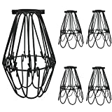 4 Pack Pendant Light Shade, Adjustable Lamp Cage, Metal Bulb Guard, Industrial Vintage Style Cage for Celling Light and Hanging Pendant Lights, Black Wire Iron Cage