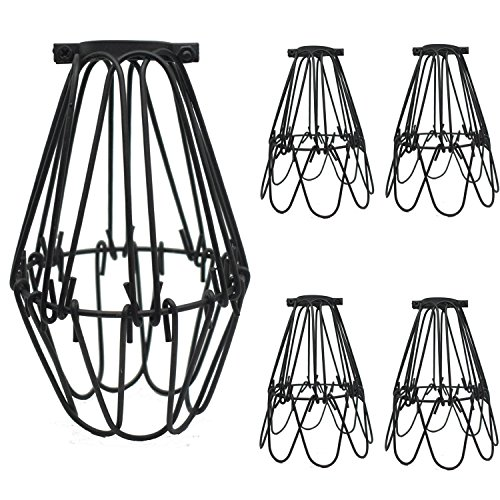 SooFoo 4 pack Black Metal Lamp Guard, Adjustable Cage Openings to Different Styles,Industrial Vintage Style Cage Lihgt for Pendant String Lights and Vintage Lamp Holders (4 pack) by SooFoo
