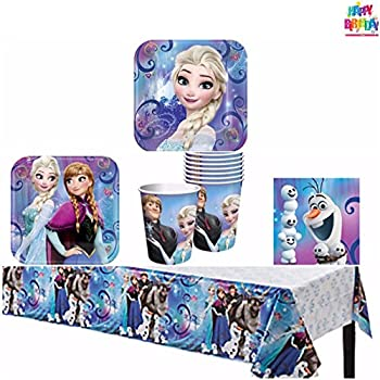 Frozen Party Supply Pack - Tableware for 8 Guests - Dinner PlatesDessert Plates Napkins Cups and Tattoo From HeyDays  sc 1 st  Amazon.com & Amazon.com: Frozen Party Pack for 16: Toys \u0026 Games