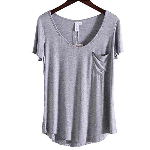 (LUFENG Women's Casual V Neck T-Shirt Short Sleeve High Low Tunic Loose Blouse Tops with Pocket Grey)