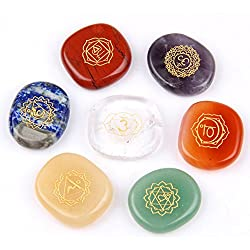 Chakra Stones-Reiki Healing Crystal With Engraved Chakra Symbols Holistic Balancing Polished Palm Stones Set of 7