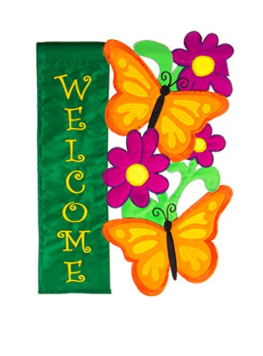 "Evergreen Butterfly Welcome Double-Sided Appliqué Garden Flag - 12.5""W x 18""H"