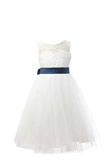 e99b86bec49 Miama Ivory Lace Tulle Wedding Flower Girl Dress Junior Bridesmaid Dress