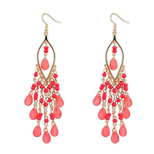 CherryGoddy Bohemian Exaggerated Fashion Beads Tassel Earrings(C4) (Dereon Dress)