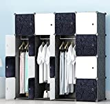 MEGAFUTURE Portable Wardrobe Closet for Hanging Clothes, Wall Décor, Combination Armoire, Modular Cabinet for Space Saving, Ideal Storage Organizer Cube for Books, Toys, Towels(16-Cube)