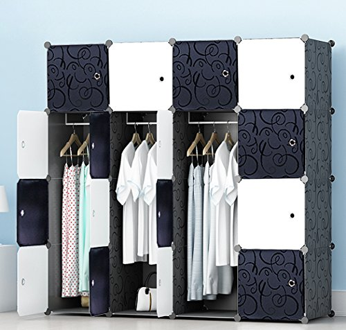 Wardrobe for Hanging Clothes, Wall Décor, Combination Armoire, Modular Cabinet for Space Saving, Ideal Storage Organizer Cube for books, toys, towels(16-Cube) (Bedroom Furniture Wardrobes)