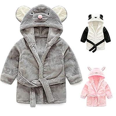 Pumsun ?? Baby Boys Girls Kids Bathrobe Cartoon Animals Hooded Towel Pajamas Clothes