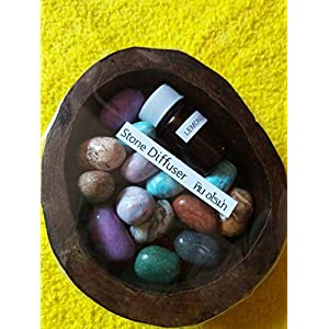 Aroma stones of Thailand is an innovative new way to help you in a teak cup Aromatherapy Essential Oil with 5 ml (Lemon Refreshing) 2 Set