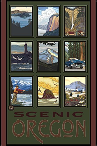 Northwest Art Mall Scenic Oregon Collage Metal Art Print by