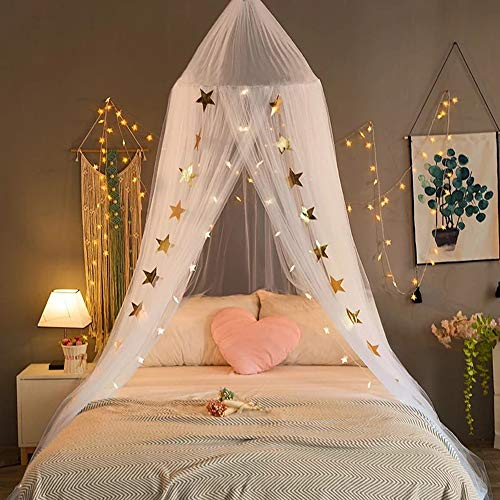 Doingart Bed Canopy Mosquito Net for Kids Playing Reading with Children Round Dome Kids Canopy Mosquito Netting Indoor Outdoor Castle Tent Hanging Netting Curtains Baby Boys and Girls Games Ho (White)