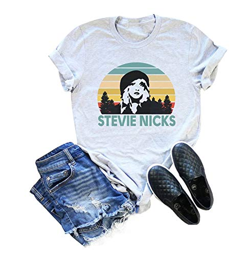 Back Vintage T-shirt - Stevie Nicks T Shirt Vintage Funny Graphic Music Tee Women Short Sleeve Music Top Size XL (Gray)