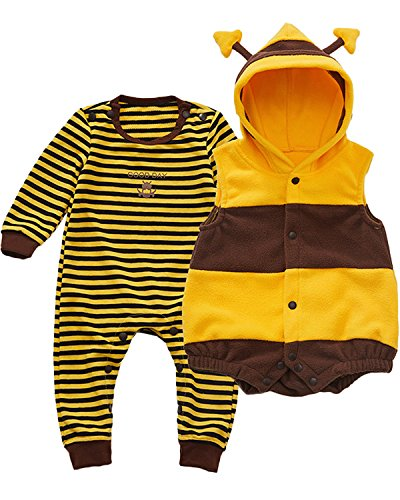 Kidsform Unisex Baby Halloween Costume Cosplay Animal Ladybug Flannel Romper Pajamas Outfits Dress Up Hoodie Jumpsuit Yellow 3-6M ()