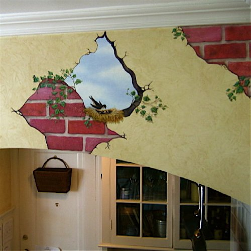 Bird in wall and breakaway bricks mural transfer wall for Brick wall decal mural