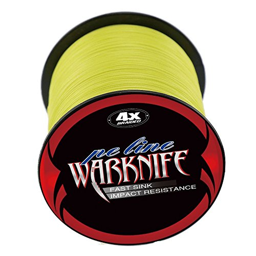 Warknife 4 Stands Super Strong Braided Fishing Line Tensile Strength 500Meters/546.8Yards 60LB Yellow For Sale