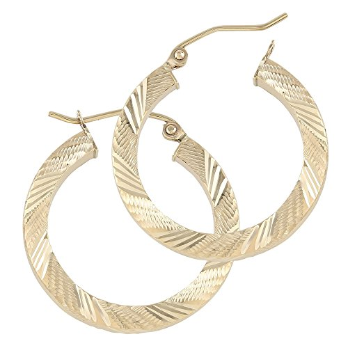 Balluccitoosi Square Hoop Earrings - 14k Yellow Gold Earring for Women and Girls - Diamond cut Unique Jewelry for Everyday by Ballucci&Toosi Goldsmith