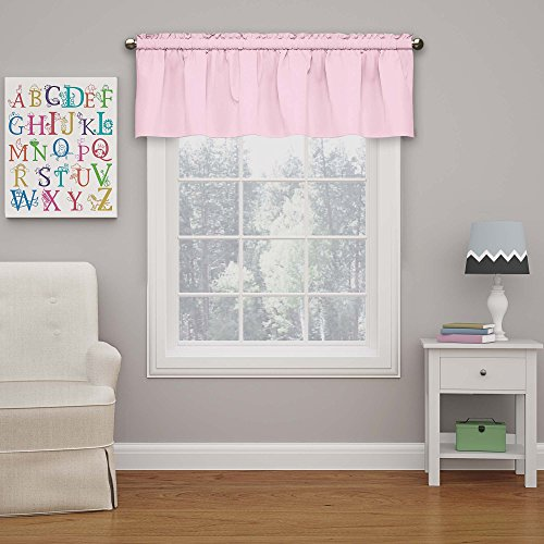 (Eclipse Kids 15503042X018PNK Microfiber 42-Inch by 18-Inch Room Darkening Window Valance, Pink)