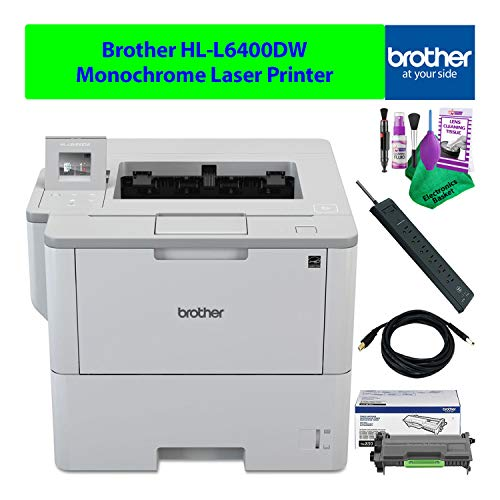 Brother HL-L6400DW Monochrome Black and White Laser Printer Wireless Duplex Compact Bundle with Necessary Cleaning Kit Plus Extra Toner