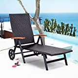 Tangkula Wicker Chaise Folding Back Adjustable Aluminum Rattan Lounger Recliner Chair W/Wheels Brown