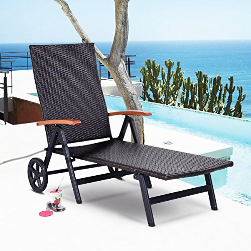 Wood Wicker Furniture (Tangkula Wicker Chaise Folding Back Adjustable Aluminum Rattan Lounger Recliner Chair W/ Wheels Brown)