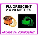 40M FILS FLUORESCENT 1.75 MM POUR IMPRIMANTE 3D OU STYLO 3D - ASSORTIMENT DE 2 COULEURS - VERT - ORANGE