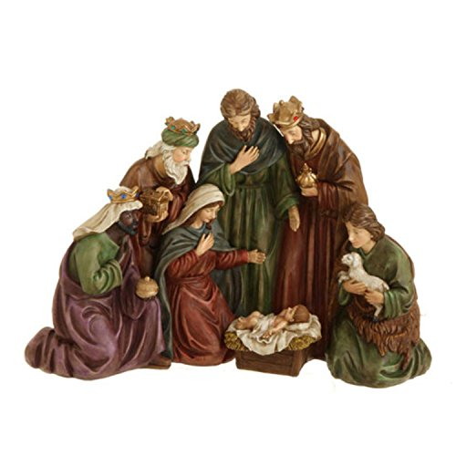17'' Traditional Holy Family, Wisemen and Shepherd Nativity Table Top Christmas Decoration by Raz