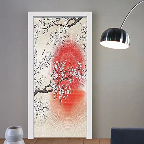 Gzhihine custom made 3d door stickers Cherry Blossom Sakura Branches Japanese Sun and Reflection Shadow Design Patterns Cream Pearl Decor Living Room Bedroom Beige Brown Red White For Room Dec by Gzhihine