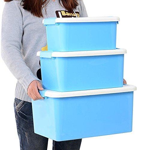 AJ PACK 3 Latch Box Storage Container With Handle, 5 Quart &9 Quart &18 Quart,6055